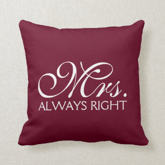 Mrs. Right Newlywed Throw Pillow. Pillow