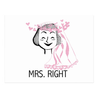 Mrs. Right Tshirts and Gifts Postcard