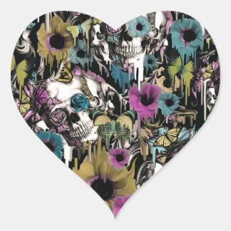 Mrs. Sandman, floral skull pattern Heart Sticker