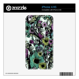 Mrs. Sandman, floral skull pattern Skins For iPhone 4