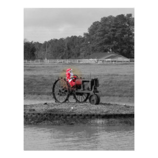 Mrs Santa Claus on a tractor on a ponds island Letterhead