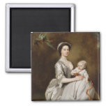 Mrs Sharpe and Child, 1731 (oil on canvas) 2 Inch Square Magnet