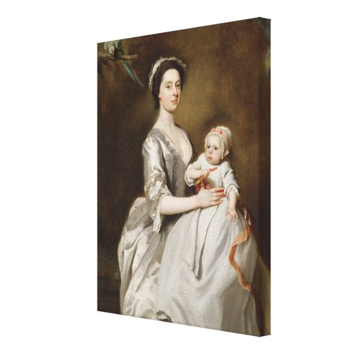 Mrs Sharpe and Child, 1731 (oil on canvas) Canvas Print