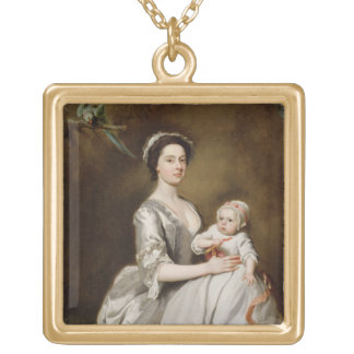 Mrs Sharpe and Child, 1731 (oil on canvas) Gold Plated Necklace