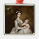 Mrs Sharpe and Child, 1731 (oil on canvas) Metal Ornament