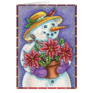 Mrs Snowman and Poinsettias Card