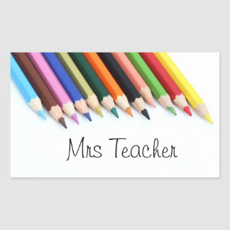 Mrs Teacher colour pencils Rectangular Sticker