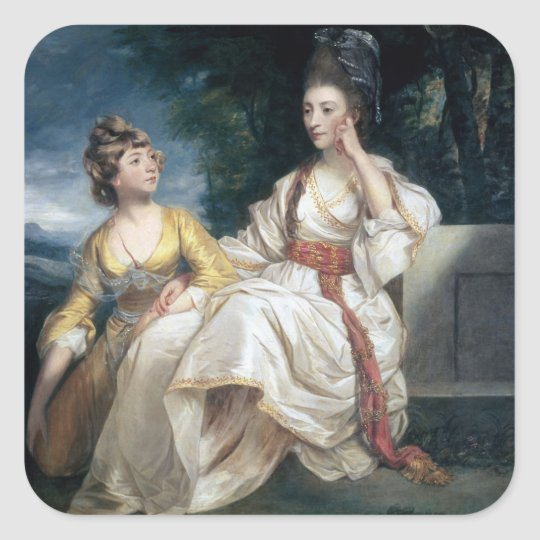 Mrs Thrale and her Daughter Hester  1777-78 Square Sticker