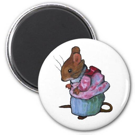 Mrs. Tittlemouse, After Beatrix Potter: Oil Pastel Fridge Magnet