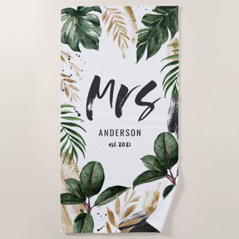 Mrs tropical leaf & typography beach towel