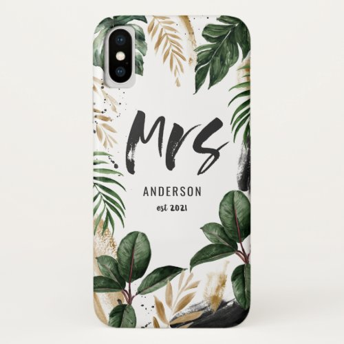 Mrs tropical leaf & typography Phone Case