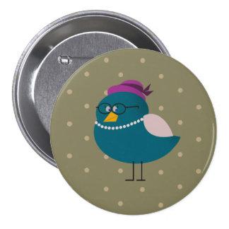 Mrs Turquoise Bird Round Green Badge Button