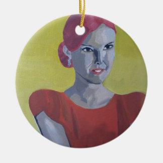 Mrs. Vintage yellow background Ceramic Ornament