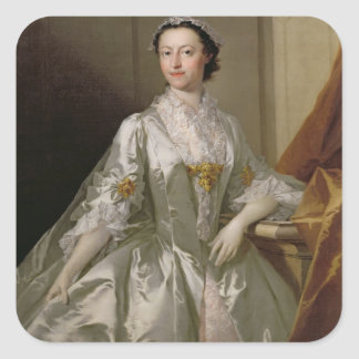 Mrs Wardle, 1742 (oil on canvas) Square Stickers