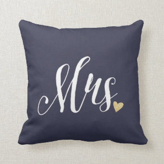 Mrs. Wedding and Anniversary Blue Throw Pillow