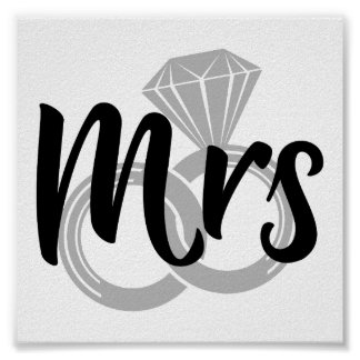 Mrs Wedding Bride Just married Poster