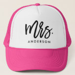"""Mrs. Wedding Trucker Hat<br><div class=""""desc"""">This design features a hand lettered modern brush font personalized with the bride&#39;s new last name!</div>"""