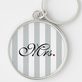 Mrs. Wife Bride Click to Customize Color Stripes Keychain