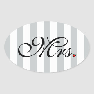 Mrs. Wife Bride Click to Customize Color Stripes Oval Sticker