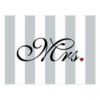 Mrs. Wife Bride Click to Customize Color Stripes Postcard