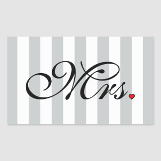 Mrs. Wife Bride Click to Customize Color Stripes Rectangular Sticker