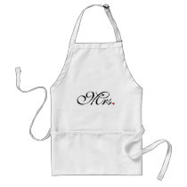 Mrs. Wife Bride His Her Newly Weds Adult Apron
