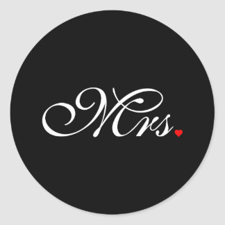 Mrs. Wife Bride His Hers Newly Weds Classic Round Sticker