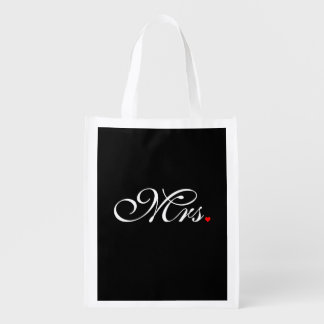 Mrs. Wife Bride His Hers Newly Weds Reusable Grocery Bag