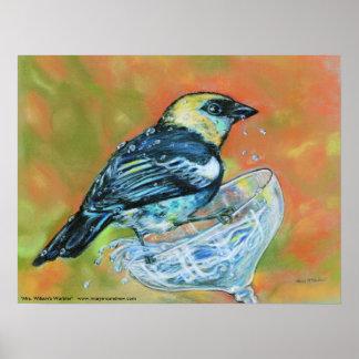 Mrs. Wilsons Warbler -bird on glass Poster / Print