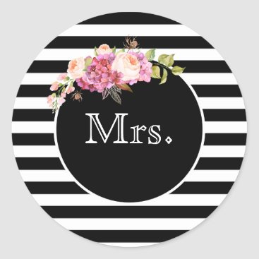 Bride Themed Mrs. with Black & White Stripes and Flowers Classic Round Sticker