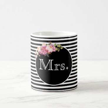 Bride Themed Mrs. with Black & White Stripes and Flowers Coffee Mug