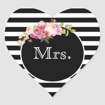 Bride Themed Mrs. with Black & White Stripes and Flowers Heart Sticker