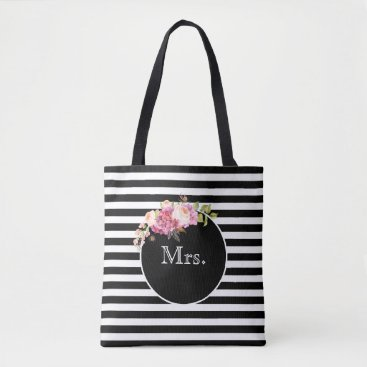 Bride Themed Mrs. with Black & White Stripes and Flowers Tote Bag