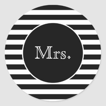 Bride Themed Mrs. with Black & White Stripes Classic Round Sticker