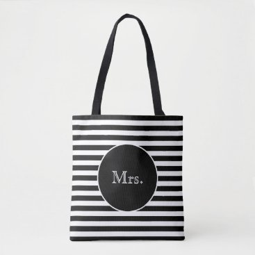 Bride Themed Mrs. with Black & White Stripes Tote Bag