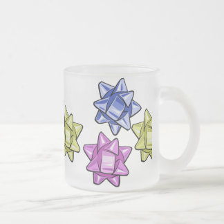 ms13 BLUE PURPLE YELLOW RIBBONS BOWS GIFTS PRESENT Frosted Glass Coffee Mug