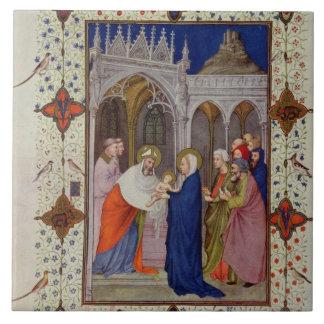 Ms 11060-11061 horas de Notre Dame: Ningunos, el P Azulejo Cuadrado Grande