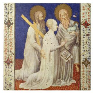 MS 11060-11061 John, Duc de Berry on his knees bet Large Square Tile