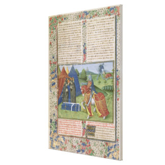 Ms 115 f.425v Lancelot Killing Sir Agravain (vellu Canvas Print