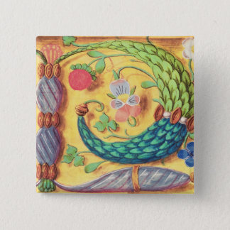 Ms 134 Illuminated letter `P' decorated with flowe Button