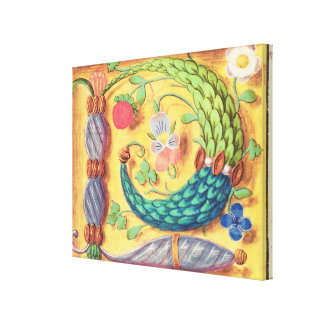 Ms 134 Illuminated letter `P' decorated with flowe Canvas Print