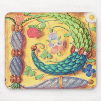 Ms 134 Illuminated letter `P' decorated with flowe Mouse Pad