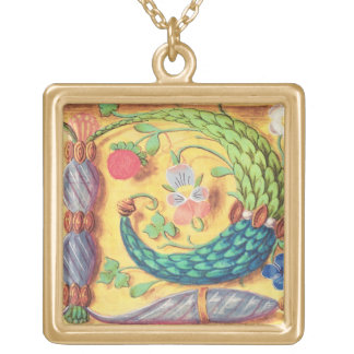 Ms 134 Illuminated letter `P' decorated with flowe Square Pendant Necklace