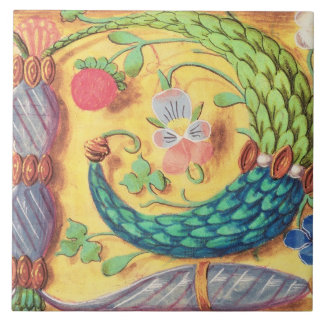 Ms 134 Illuminated letter `P' decorated with flowe Tile