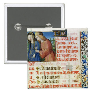 Ms 134 May: Courting Couple, from a Book of Hours Pinback Button