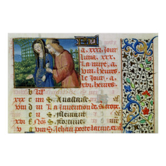 Ms 134 May: Courting Couple, from a Book of Hours Poster