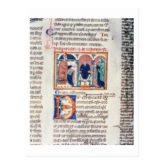 Ms 150 f.61v A Judgement, from the 'Decrets de St. Postcard