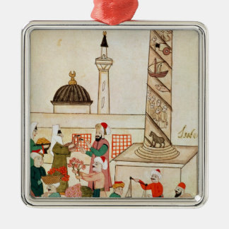 Ms 1671 A Bazaar in Istanbul, c.1580 Square Metal Christmas Ornament
