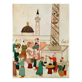 Ms 1671 A Bazaar in Istanbul, c.1580 Postcard