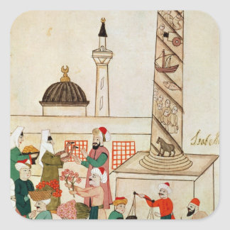 Ms 1671 A Bazaar in Istanbul, c.1580 Square Sticker